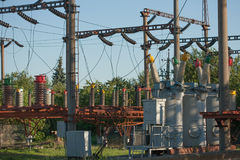 Electrical substation infrastructure with close up on electrical circuit breakers. Electrical substation infrastructure with close up on electrical circuit royalty free stock photography