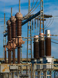 Electrical Substation Insulators. High voltage Royalty Free Stock Photos