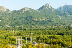 Electrical substation in the mountains of Montenegro Royalty Free Stock Photography