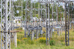 Electrical substation poles and wires summer Stock Images