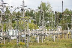 Electrical substation poles and wires Stock Photography