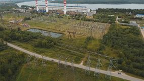 Electrical substation,power station. Aerial view stock video