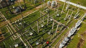 Electrical substation,power station. Aerial view. Aerial view Power plant, transformation station, cables and wires. High voltage electric power substation stock video footage