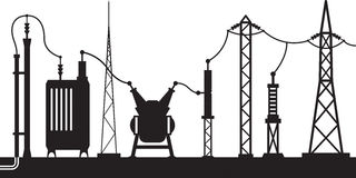 Electrical substation scene. Vector illustration royalty free illustration