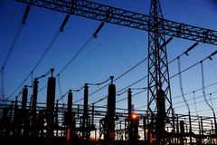 Electrical substation silhouette Stock Photos