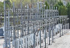 Electrical substation in suburban setting stock photo
