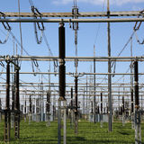 Electrical substation with transformers energy and electricity t Royalty Free Stock Photo