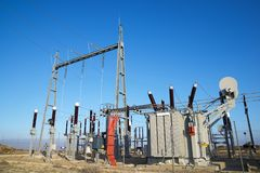 Electrical substation view Royalty Free Stock Images