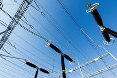 Electrical surge arresters in converter station Royalty Free Stock Photo