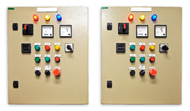 Electrical switch gear and circuit breakers that control heat, heat recovery, air conditioning, light and electrical power supply. Mechanical electrical control royalty free stock photography