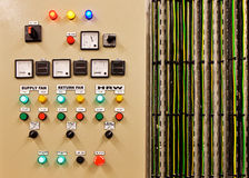 Electrical switch gear and circuit breakers that control heat, heat recovery, air conditioning, light and electrical power supply. Mechanical electrical control royalty free stock images