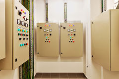Electrical switch gear and circuit breakers that control heat, heat recovery, air conditioning, light and electrical power supply. Mechanical electrical control stock photo