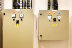 Electrical switch gear and circuit breakers that control heat, heat recovery, air conditioning, light and electrical power supply Royalty Free Stock Photos