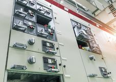 Electrical switch panel at substation of power plant. Stock Images