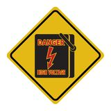 Electrical switch the power voltage symbol,  warning sign. Illustration