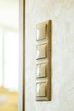 Electrical switch on the wall. Press turn on/off electrical switch on the wall Stock Image