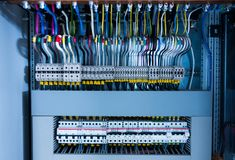 Electrical switchboard, wire, automat Stock Photography
