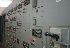 Electrical switchgear,Industrial electrical switch panel of power plant.  stock photos