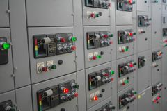 Electrical switchgear,Industrial electrical switch panel of power plant.  royalty free stock image