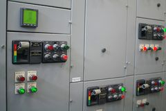 Electrical switchgear,Industrial electrical switch panel of power plant.  stock image