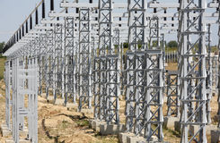Electrical system. High Voltage Power Station. High Voltage Stock Photo