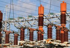 Electrical system of the power plant to produce electricity Royalty Free Stock Photography