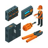 Electrical systems isometric. Electrician worker with industrial power tools for repair and setup unit vector 3d picture. Electrical systems isometric vector illustration
