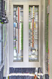 Electrical terminals and wires in industrial control panel Royalty Free Stock Photos
