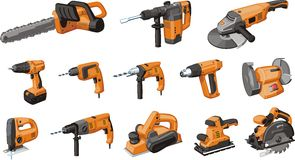 Electrical tool. Set of electro rotary hand tool Stock Image