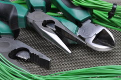 Electrical tools and cables Royalty Free Stock Photography