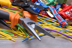 Electrical tools and cables used in electrical installations Royalty Free Stock Photography