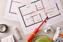 Free Electrical Tools For Housing Installation General View Royalty Free Stock Photo - 139187225