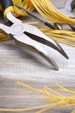 Electrical Tools on Metallic Background Royalty Free Stock Photos