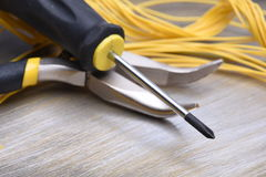Electrical Tools on Metallic Background Royalty Free Stock Image