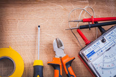 Electrical tools multimeter tester nippers Royalty Free Stock Images