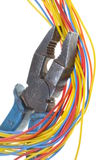 Electrical tools, pliers with cables Royalty Free Stock Image