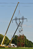 Electrical Top Changing with Two Cranes Royalty Free Stock Images
