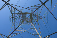 Electrical Tower. Looking straight up an electrical tower Royalty Free Stock Image