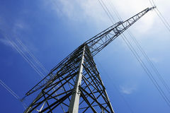Electrical tower. A electrical tower in front of the blue sky Stock Photos