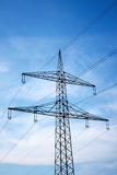 Electrical tower. A electrical tower in front of the blue sky Stock Image