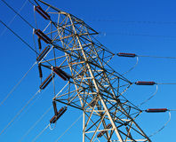 Electrical Tower. Looking up at a high voltage electrical tower Stock Photography