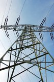 Electrical tower. And lines against blue sky Royalty Free Stock Image