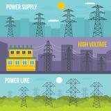 Electrical tower banner horizontal set, flat style. Electrical tower voltage banner horizontal concept set. Flat illustration of 3 electrical tower voltage Stock Photos