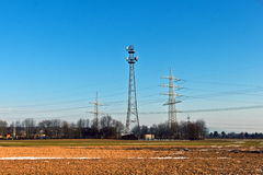 Electrical tower in beautiful landscape Royalty Free Stock Photo