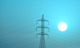 Electrical tower with bright sun and color effect Stock Images