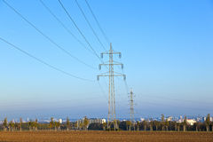 Electrical tower in field Stock Photos