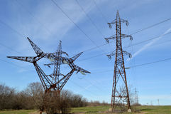 Electrical tower. Near a power plan Stock Photography