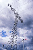 Electrical tower and wind generator (renewable energy) Royalty Free Stock Photos