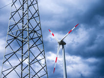 Electrical tower and wind generator (renewable energy) Stock Photography