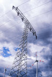 Electrical tower and wind generator (renewable energy) Stock Images